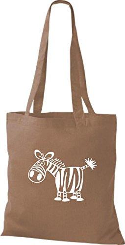 Shirtstown Stoffbeutel Tiere Zebra Hellbraun