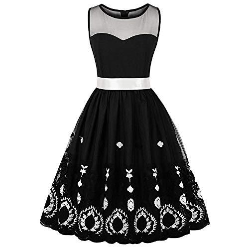 Averyshowya Kleidung für Erwachsene Kostüme Halloween dressesHalloween Costumes Retro Embroidered Pin Up Dress Vintage Halloween A-Line Party Dress with Bowkno