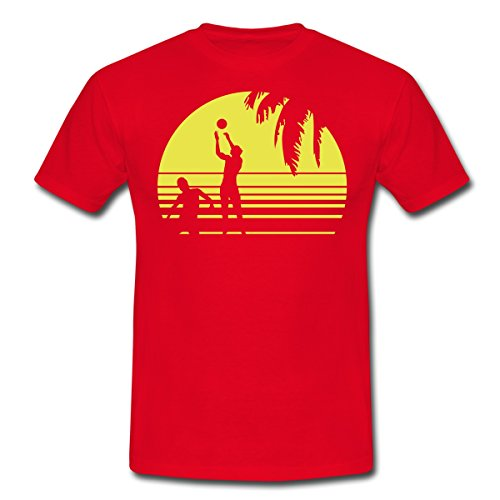 Spreadshirt Beach Volleyball Männer T-Shirt, L, Rot