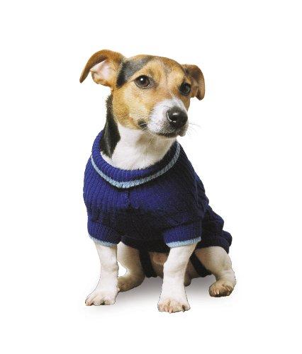 Ancol Hundepullover, gestrickt mit Zopfmuster, Größe L, blau