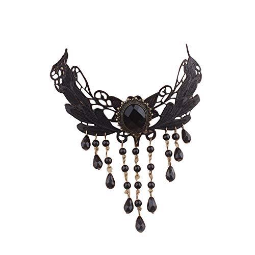 Da.Wa Halskette Spitze Gothic schmuck | halskette rot + schwarze Spitzen Kette für Hochzeit |...