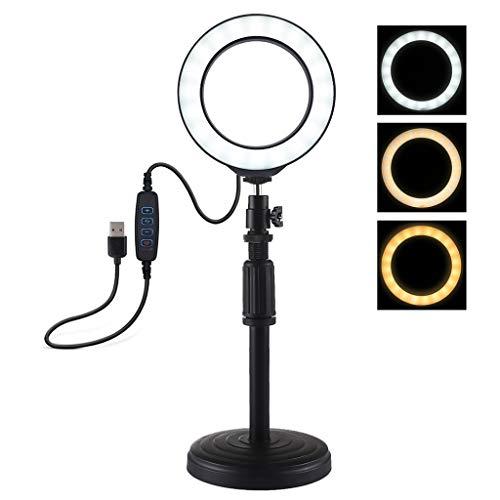 Ringlicht Serria® USB 3 Modi LED Ring Selfie Enhancing Licht,Selfie Ring Licht Kompatibel mit Live Stream YouTube Vine Self-Porträt der Videoaufnahme (3,5 Zoll Selfie Licht + Tischständer) -