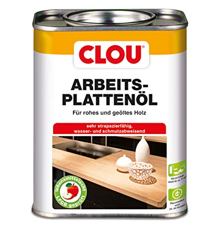 Clou Arbeitsplatten-Öl für rohes und geöltes Holz, wasserabweisende und abriebfeste Öl-Wachs-Kombination, 750ml - Holz Arbeitsplatte