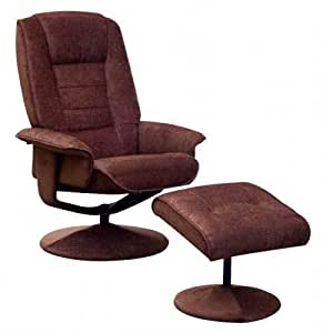 NEW Miami Fabric Manual Reclining Swivel Recliner Armchair & Footstool