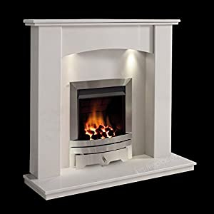 White Marble Stone Surround Gas Fireplace Suite Silver Inset Gas Fire with Spotlights