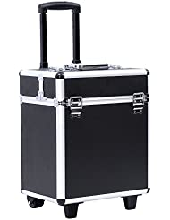 Songmics® Beauty Case Trolley Maquillage Coiffure Nail Cosmetic Valise boîte à maquillage outils bagages noir JHZ12B