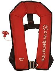 ORANGEMARINE Gilet de sauvetage gonflable manuel avec harnais 150 N - ROUGE