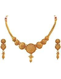 Amaal One Gram Pearl Gold Traditional Wedding Party Wear Necklace Jewellery Sets With Earrings For Women/Girls...