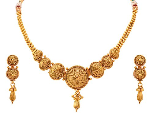 Meenaz Jewellery Gold plated Jewellery Set Necklace for womens with Ear rings for girls Traditional One gram Copper Pearl Kundan Pendant Necklace Set Earrings For Women,Girls- Jewellery earring set-18