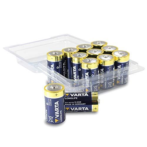 Varta Longlife Batterie D Mono Alkaline Batterien LR20 - 12er Pack in wiederverschließbarer original WEISS - more power + Batteriebox
