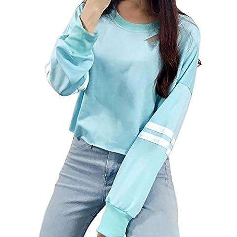 HCFKJ Femmes Fille Hollow Short Sweatshirt Long Sleeve Pull Pull Tops (S, bleu)