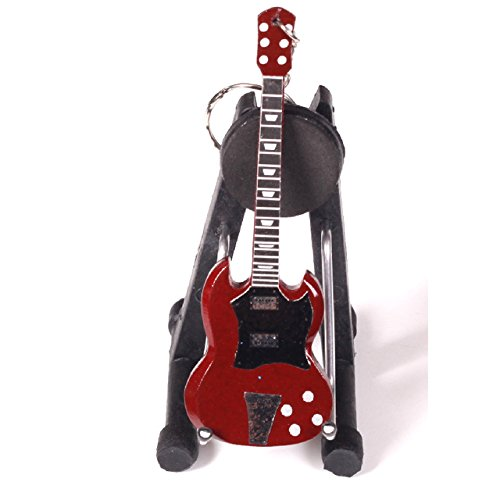 Importiert aus Holz Miniatur-Gitarre Schlüsselanhänger Double Hals Gitarre, Sonstige, Design 10, As Pic