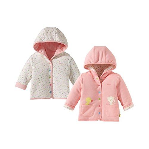"""Bornino """"Confetti Animals Wendejacke/Outdoor-Jacke - Farbe: Rosa Gemustert, mit Kapuze und Druckknopfleiste - Babykleidung für Mädchen"""
