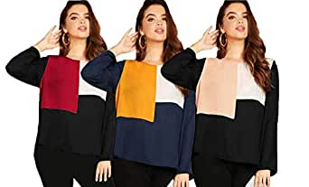 JUNEBERRY 100% Cotton Multicolor Round Neck Full Sleeve T-Shirt for Women/Girls-Multicolor (Pack of 3)