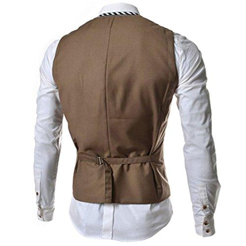 Lanmworn Herren Weste Slim Fit Mode Leicht Anzugweste, V-Ausschnit Jacke Vintage Business Vest Herrenweste FüR Hochzeit Fest Business Lässige Kamel