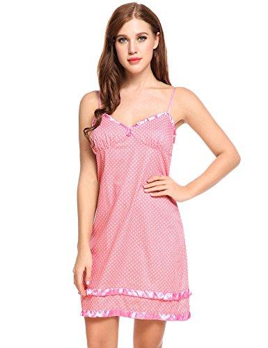 EKOUAER Damen Nachthemd Ärmellos V Ausschnitt Pyjama Polka Dot Nachtwäsche Rückenfrei Nachtkleider Babydoll Lingerie Dessous mit Spaghettiträger