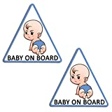 Biomar Labs® 2 x Adesivi Vinile Stickers Autoadesivi Decalcomania Bebè A Bordo Baby On Board Boss Bambino Bimbo Safety Sign Car Sicurezza Adesivi per Auto Moto Finestrìno Finestro Porta B 174