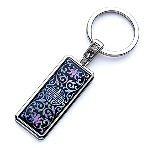 Mother of Pearl Black Arabesque Flower Chinese Charm Design Handmade Craft Luxury Novelty Cool Metal Keychain Key Ring Fob Holder by Antique Alive