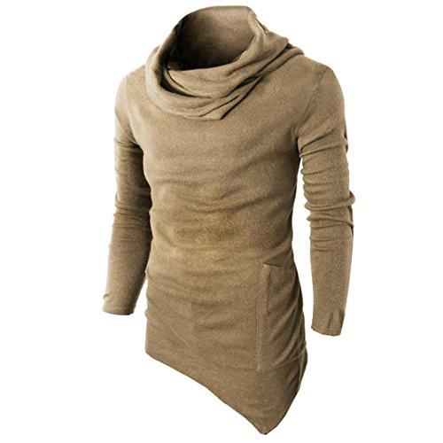 YunYoud Männer Slim Fit Tuetleneck Tops Lange Ärmel Muskel Hemd Herren Einfarbig Patchwork Blusen Mode Beiläufig T-Shirt Irregulär Pullover Sweatshirt (XL, Gelb)