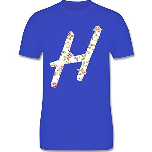 Anfangsbuchstaben - H Rosen - Herren Premium T-Shirt Royalblau