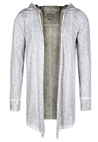 Urban Surface Langer Herren Cardigan mit Kapuze | Lange Strickjacke ohne Verschluss middle-grey