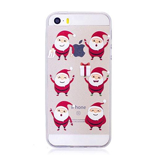 iPhone 5S / SE / 5 Copertura,Bella Weihnachtsmann ogni Pattern Ultra sottile Custodia in TPU Gel [Transparent] Copertura posteriore in gomma flessibile Copertura protettiva Case for iPhone 5S /SE /5 colour 2