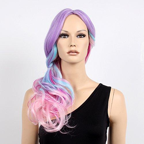 stfantasy Perücken für Frauen Lang Gewellt hitzbeständige Kunsthaar 58,4cm 267g Full Wig peluca frei Hair Net + Clips, bunt,