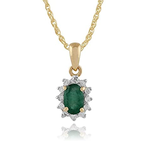 Or jaune 9 carats-Émeraude-Diamant naturel 0.42ct & ovale groupe Pendentif