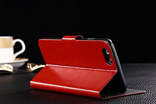 Ineway Lot de 2en 1pour iPhone 6+ 6Plus (14cm pouce) Mode Couleur haute qualité Cuir Flip Housse portefeuille Coque de protection avec protection d'écran HD, i6Plus, boucle ID, Cuir