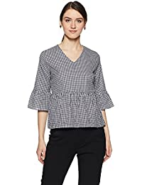 Amazon Brand - Symbol Women's Checkered Loose Fit Top