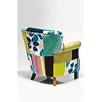 Preisvergleich für Kare Design Sessel Patchwork Stripes, Relaxsessel mit Armlehnen, Lounge TV Sessel im Retro-Look, Bunt (H/B/T) 76x66x74cm