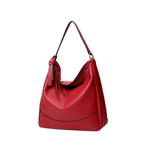 Longra Donna in pelle artificiale colore solido Lichee modello lunga corda spalla borsa borsetta Rosso