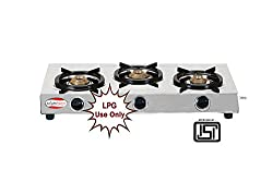 brightflame Surya Stainless Steel 3 Burner Gas Stove for LPG Customers - ISI Approved