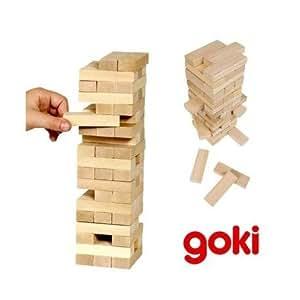 Goki - Jeu de Jenga Tour en bois Jeu d adresse 51 pcs Enfants 5 ans +