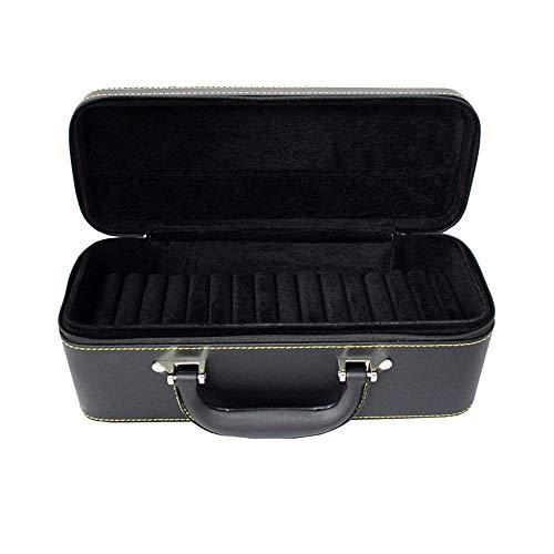 Étui à Bijoux en Cuir Collier Bague de Rangement Bijoux boîte de Rangement Bague à Bijoux avec étagère à Bijoux (Couleur : Black, Size : 31 * 12 * 12.5cm)