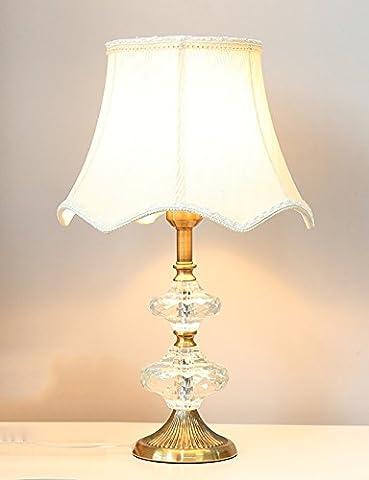 LXSEHN lampe de table Lampe De Chambre Lampe De Table De Cristal Rétro Tissu Simple Créatif Continental Étude Des Chambres D'hôtel Lampe De Table décoration Lampes de nuit Lampes de table Lumières