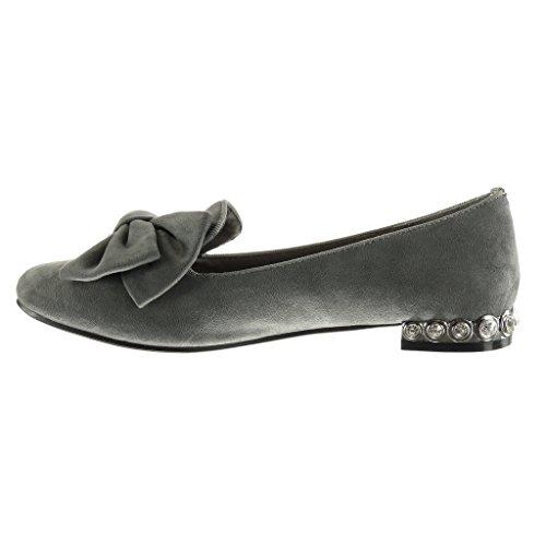 fliege On Schmuck Schuhe CM Blockabsatz 1 besetzt 5 damen Mokassin Angkorly Grau Slip Nieten gwIx8q7af