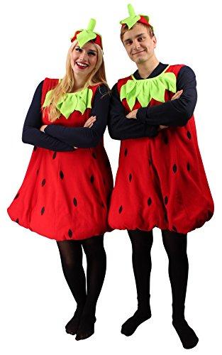 Erdbeer-Kostüm Rot & Grün für Erwachsene | Einheitsgröße | 2-teiliges Obst Kostümierung für Karneval | Frucht-Verkleidung für Fasching | Süßes Früchtchen Karnevalskostüm für Fastnacht & Mottopartys