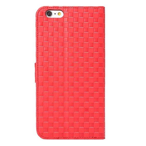 Phone case & Hülle Für IPhone 6 / 6S, Prägung Grid Textur Horizontale Flip PU Leder Telefon Fall mit Halter & Card Slots ( Color : Grey ) Red