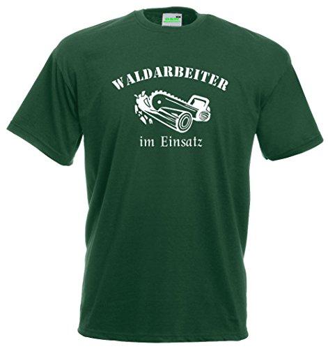 Waldarbeiter im Einsatz T-Shirt, Holzarbeiter, Motorsäge, Forstarbeit, Holz, Premiumshirt von Bimaxx® Grün