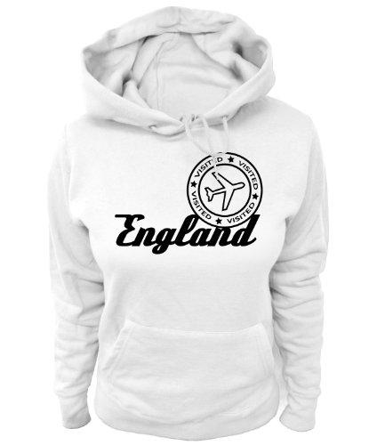 Artdiktat Damen Hoodie - Visited England, Größe L, weiß -