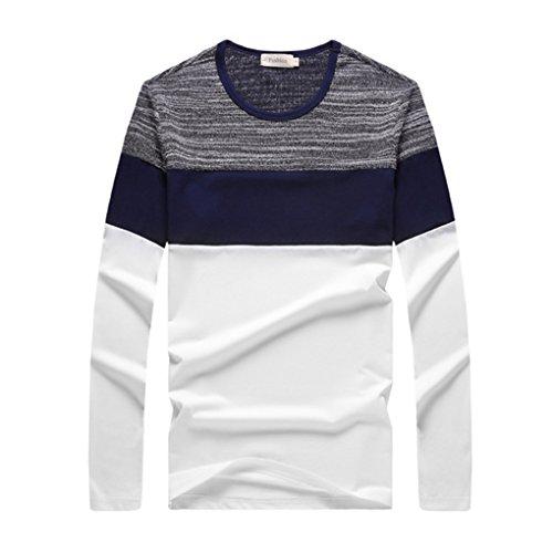 QHGstore Mens Ragazzi casuale Maglie a manica lunga in cotone T Camicie M-XXXL bianca M