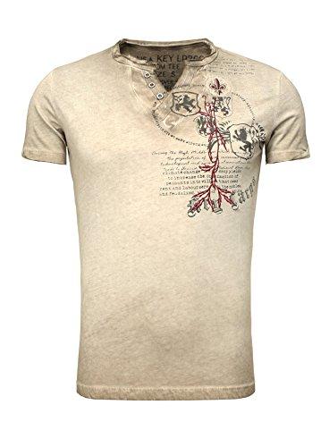 Key Largo Herren Sommer T-Shirt T WEAPON button Printshirt Slim Fit Schnitt V-Ausschnitt mit Knöpfen braun M