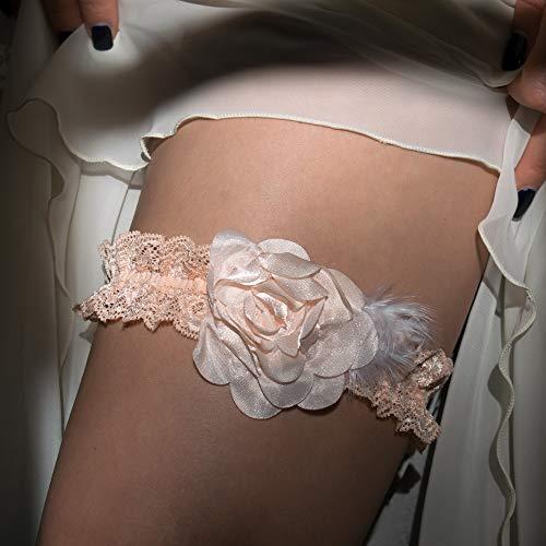 Womens Pfirsich (Strumpfband rosa Pfirsich weiss Hen Night Hen Party Hochzeit Braut Brautkleid Unterwaesche)