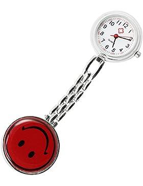 COM-FOUR Ansteckuhr - Krankenschwesternuhr mit lachendem Gesicht, Pulsuhr (1 Stück / Rot)