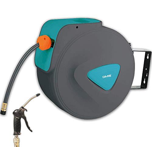 DMS Druckluftschlauch Aufroller Automatik Schlauchtrommel EU 1/4 Trommel Wandschlauchhalter Schlauchaufroller Druckluftschlauch-Aufroller Druckluftschlauch-trommel DST (20 Meter, Blau)