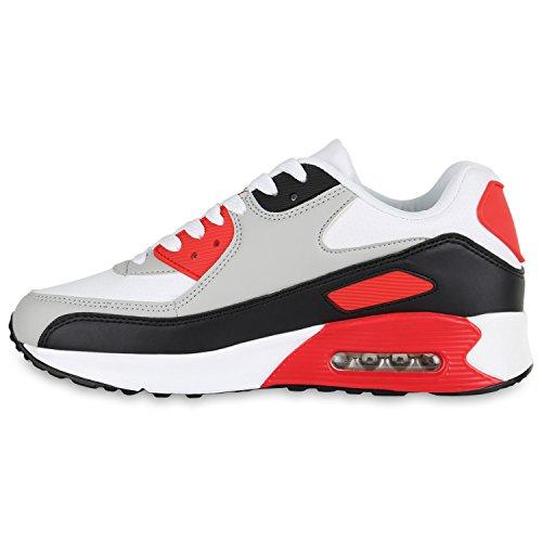 Herren Sportschuhe Laufschuhe Sneakers Runners Profilsohle Weiss Hellgrau Rot