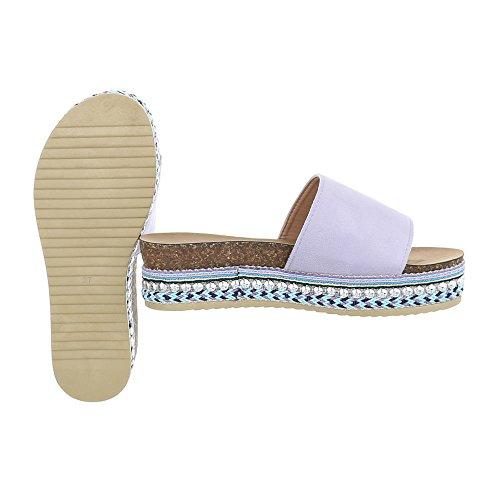 Ital-Design Chaussures Femme Sandales Plat Mules violet G-78