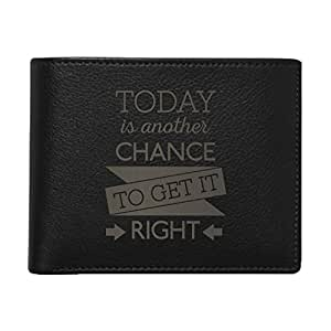 YaYa cafe Motivational Gift, Today is Another Chance Quote Men's Leather Wallet President - Black | Corporate Gifts for Office, Employees, Clients, Men