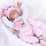 NPKDOLL Echt Schlafend Reborn Babypuppe Mädchen Lebensechtes Kleinkind Silikon Baby Doll Neugeborenes Toddler Babies 55 cm